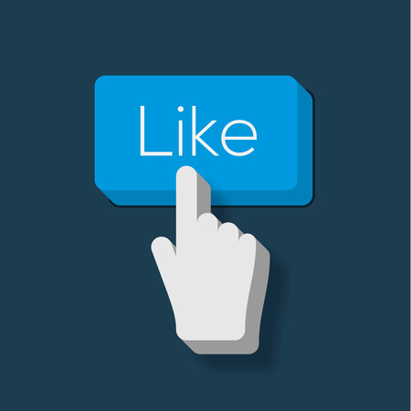 Like us Button with Hand Shaped Cursor Vector