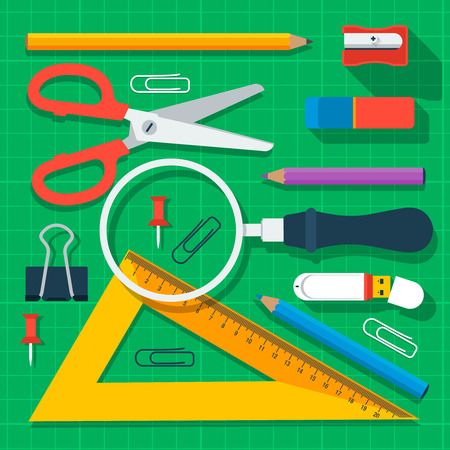 fournitures scolaires: Fournitures scolaires color�s Illustration