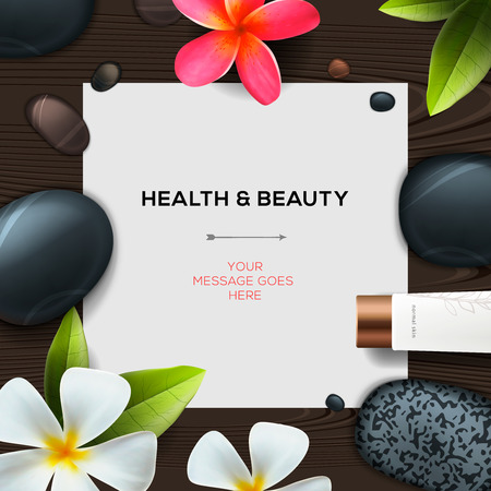 Health and beauty template with Natural spa cosmetics products Illusztráció