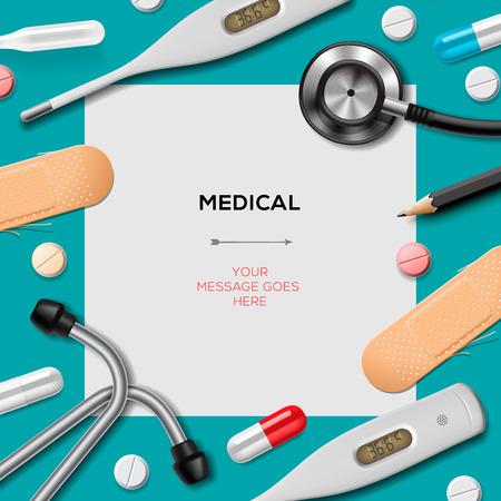 Medische sjabloon met geneeskunde apparatuur