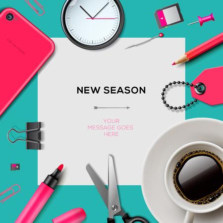 事務用品の新シーズンの招待状のテンプレート