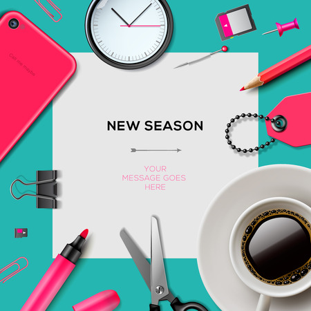 New season invitation template with office supplies