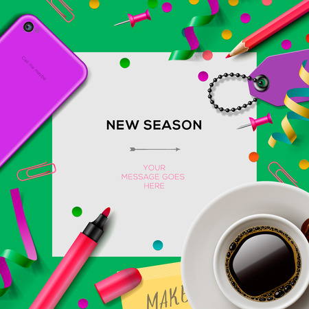 New season template with office supplies Ilustração