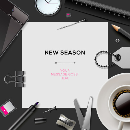 New season template with office supplies Illustration