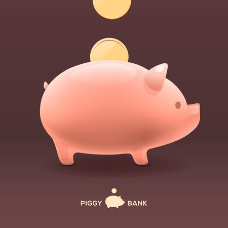 Piggy moneybox with golden coins