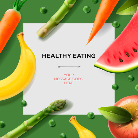 Healthy eating template with fruits, vegetables Vector