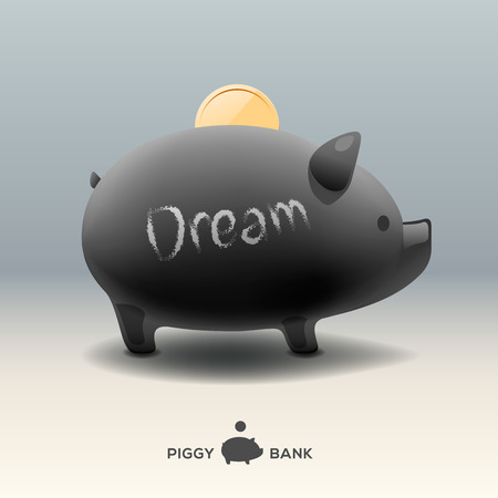 for a dream: Piggy moneybox with golden coin - for dream