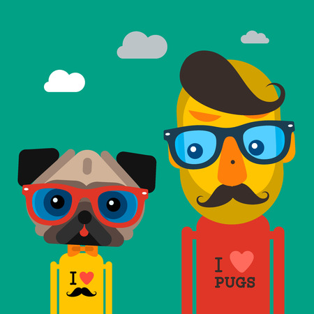 hipster: Cute fashion Hipster man and pug dog pet