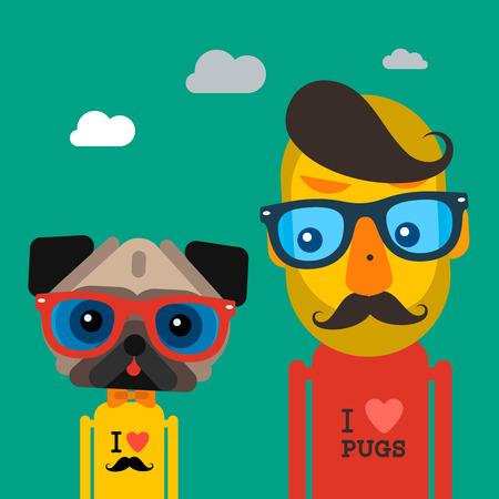 Netter Weise Hipster Mann und Mops Hund Haustier Illustration