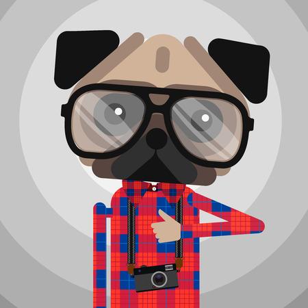 kids glasses: Cute fashion Hipster pug dog pet Illustration