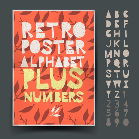Retro alphabet for art and craft posters design, cut out by scissors from paper.  Vector