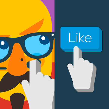 Like us Button with Hand Shaped Cursor and hipster man face Vector