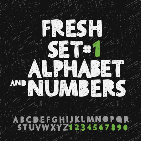 bundle: Set of hand drawing alphabet and numbers Illustration