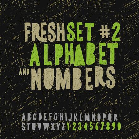 disegno a mano: Set di disegno a mano alfabeto e numeri