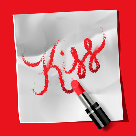 Lipstick and inscription Kiss Vector