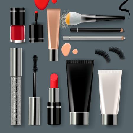 메이크업 메이크업 화장품 및 액세서리의 컬렉션 세트 일러스트