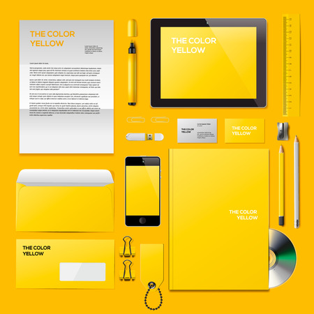 yellow notepad: Yellow Corporate ID mockup. Consist of business cards, cd disk, notepad, pen, envelope, badge, stationery, usb flash drive, folder, tablet, smart phone, blank. Vector Eps10 illustration. Illustration