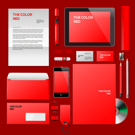 Red Corporate ID mockup. Consist of business cards, cd disk, notepad, pen, envelope, badge, stationery, usb flash drive, folder, tablet, smart phone, blank. Vector Eps10 illustration. Vector