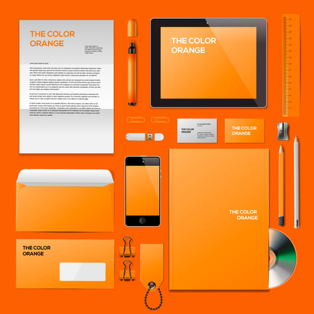 Orange Corporate ID mockup. Consist of business cards, cd disk, notepad, pen, envelope, badge, stationery, usb flash drive, folder, tablet, smart phone, blank. Vector Eps10 illustration. Illustration