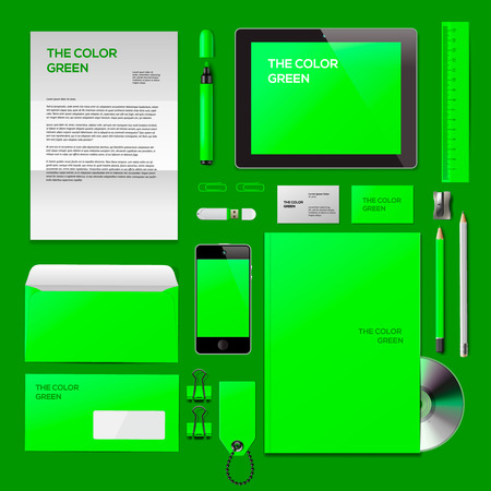 Green Corporate ID mockup. Consist of business cards, cd disk, notepad, pen, envelope, badge, stationery, usb flash drive, folder, tablet, smart phone, blank. Vector Eps10 illustration. Vector