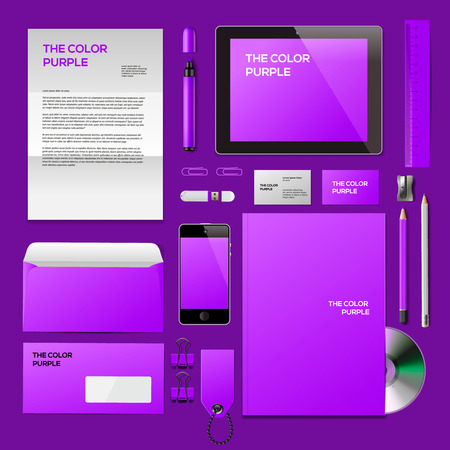Purple Corporate ID mockup. Consist of business cards, cd disk, notepad, pen, envelope, badge, stationery, usb flash drive, folder, tablet, smart phone, blank. Vector Eps10 illustration. Vector