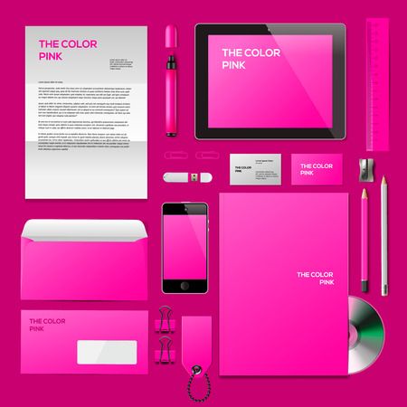 Pink Corporate ID mockup. Consist of business cards, cd disk, notepad, pen, envelope, badge, stationery, usb flash drive, folder, tablet, smart phone, blank. photo