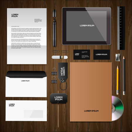 Corporate identity mock-up: blank, business cards, disk, notepad, pen, envelope, badge, stationery, brand-book, portable console, tablet pc.  Vector