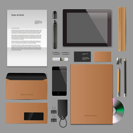 Corporate identity mock-up: blank, business cards, disk, notepad, pen, envelope, badge, stationery, brand-book, portable console, tablet pc. Stock Vector - 27714142