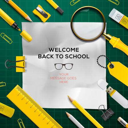 new school: Back to school template, green and yellow colors, vector Eps10.