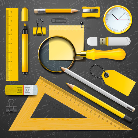 Colorful yellow school supplies, vector Eps10 illustration. Vector