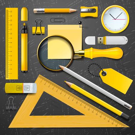 convivencia escolar: Material escolar amarillo colorido, vector Eps10 ilustraci�n.