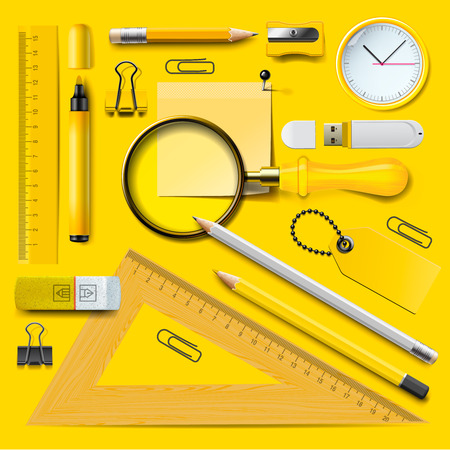 Colorful yellow school supplies, vector Eps10 illustration. Ilustração