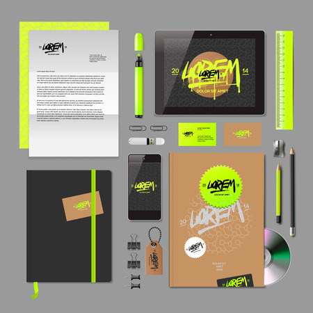 Corporate identity mock-up: blank, business cards, disk, notepad, pen, envelope, badge, stationery, brand-book, portable console, tablet pc. Vector Eps10 illustration. Stock Vector - 28069965