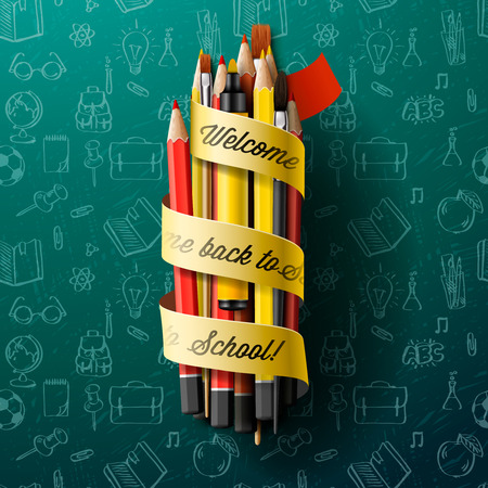 pencil and paper: Colorful pencil crayons with ribbon, vector Eps10 illustration.