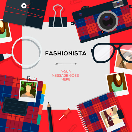 Fashionista template with accessories, vector Eps10 illustration.
