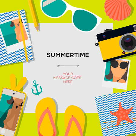 Summertime travel template with traveling accessories  Illustration