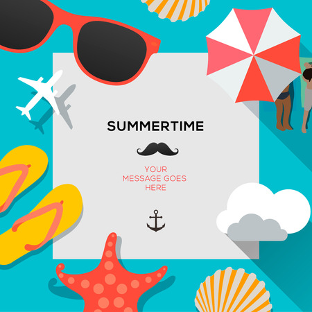 sunny beach: Summertime traveling template with beach summer accessories