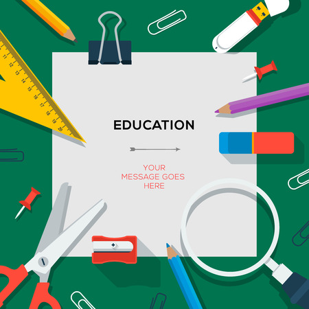 Education and science concept - template with schools supplies, vector illustration.