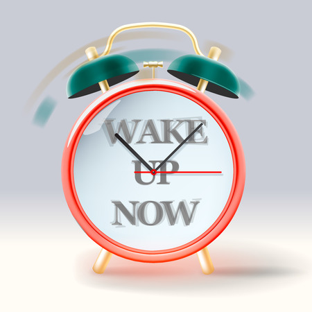 Vintage retro alarm clock, with inscription Wake up now, vector Eps10 image. Vector