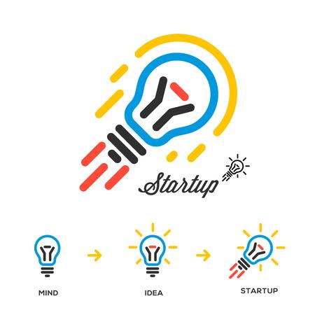 Start up Unternehmen und Innovationsnetzwerkkonzept, Birne-Rakete, Vektor-Bild.