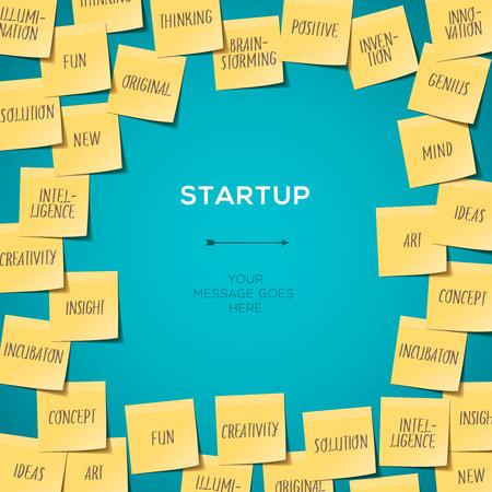 sticky notes: Opstarten Template met Businessplan gemaakt van post-its, vector eps10. Stock Illustratie