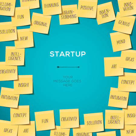 word art: Start up Template with Business plan made of sticky notes, vector Eps10 illustration.