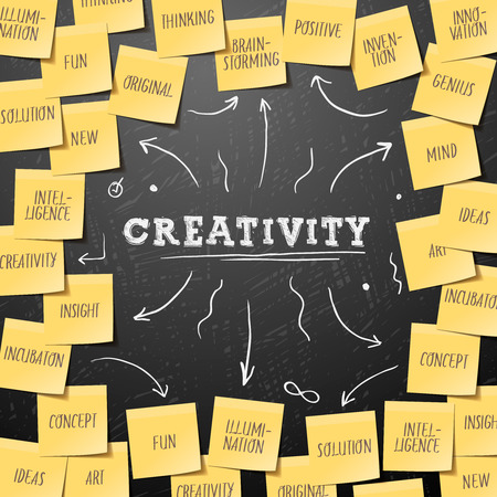 post it note: Creativit� Modello con Business plan fatta di post che prende, vettoriale eps10.