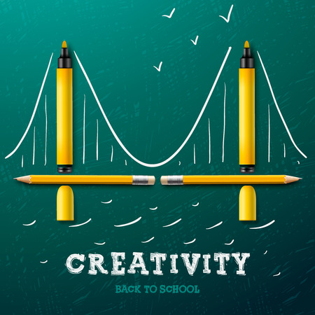 Creativity learning. Bridge made with pencils and markers - sketch on the blackboard, vector image.