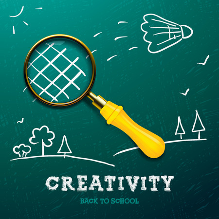 Creativity learning. Racket made with magnifying glass - sketch on the blackboard, vector image. Vector