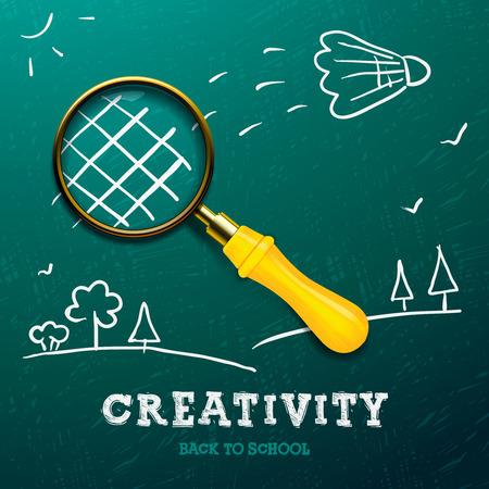 Kreativität lernen. Racket mit Vergrößerungsglas - Skizze an die Tafel, Vektor-Bild. Illustration