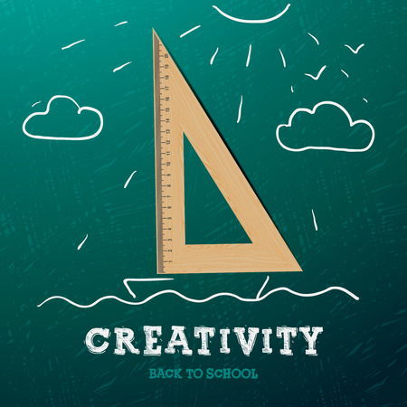 Creativity learning. Sailing ship with wooden triangle  - sketch on the blackboard, vector image.