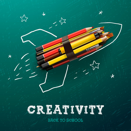 draw: Creativity learning. Rocket ship launch with pencils - sketch on the blackboard, vector image. Illustration