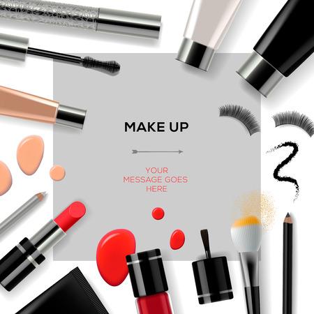 trucco: Modello di trucco con collezione di make up cosmetici e accessori, vettoriale eps10. Vettoriali