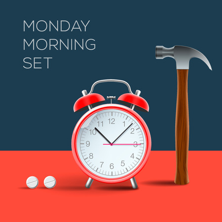 red pill: Vintage alarm clock and hammer, I hate monday morning, vector image.